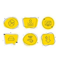 Cloud storage mini pc and pie chart icons set vector