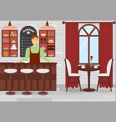 coffee shop interior with vector image
