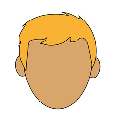 Color silhouette cartoon front view faceless front vector
