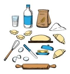 Cooking process kneading dough vector