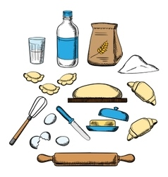 Cooking process of kneading dough vector