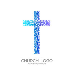 cross of jesus christ from flowers vector image
