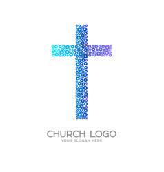 Cross of jesus christ from flowers vector