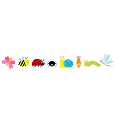 Cute cartoon insect set line ladybug ladybird bee vector