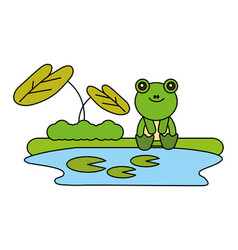cute frog sitting in the lake vector image