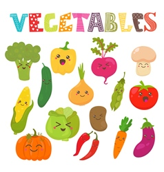 Cute kawaii smiling vegetables Healthy style vector image
