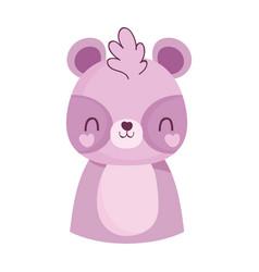 cute raccoon little animal cartoon isolated design vector image
