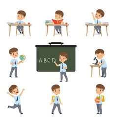Cute schoolboy student in uniform in various vector