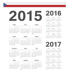 Czech simple calendars 2015 2016 2017 vector image