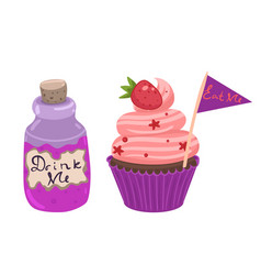 Drink me eat me cake and bottles isolated on vector