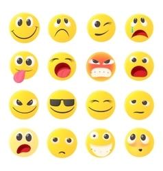 Emoticon icons set cartoon style vector