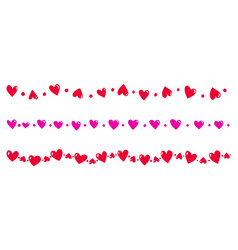 endless borders with hearts elements vector image