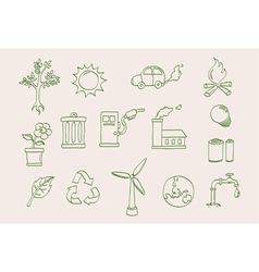 environment doodle icons vector image