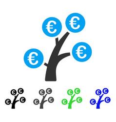 Euro money tree flat icon vector
