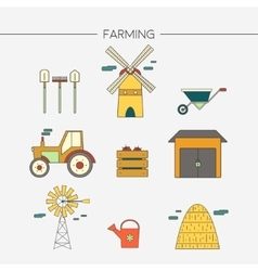 Farming and agriculture icons set vector