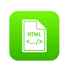 file html icon digital green vector image