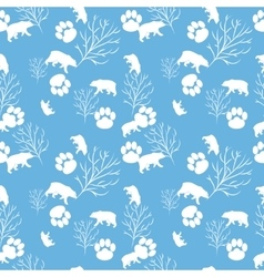 Forest bear and tree branch seamless pattern vector image