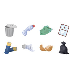 Garbage and waste icons in set collection for vector