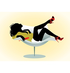 girl on chair with wineglass vector image