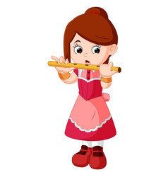 Girl playing flute vector