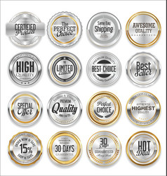 Gold and silver labels luxury collection vector