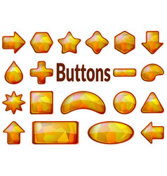 Golden glass buttons set vector