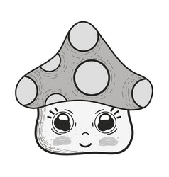 Grayscale kawaii fangus with cute eyes and cheeks vector