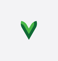 green letter v logotype sign element vector image