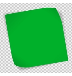 Green paper sticker over transparent background vector image