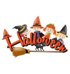 Halloween theme with kids and broom vector