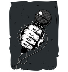 Hand with microphone retro grunge music poster vector