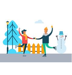 Happy couple dancing on skates outdoors wintertime vector