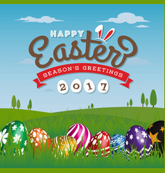 Happy easter season greeting card vector