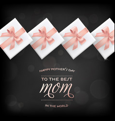 Happy mothers day banner gift box greeting card vector