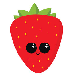 happy strawberry on white background vector image