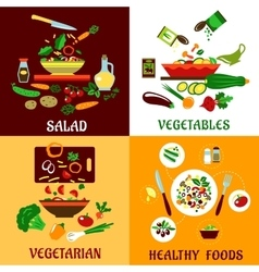 Healthy salad vegetables and vegetarian food vector