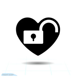 heart black icon love symbol unlock in vector image