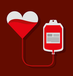 heart blood bag transfusion donation campaign vector image
