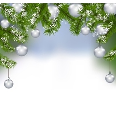 Holiday card green fir branches with silver balls vector