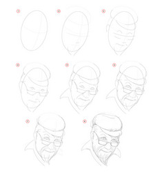 how create step step pencil drawing page shows vector image