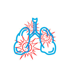 human lungs full dangerous red virus modern vector image