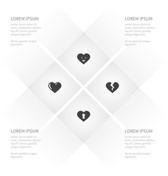 icon passion set of love broken hearts and other vector image