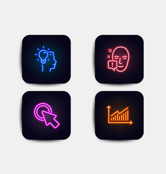 Idea click here and face attention icons graph vector