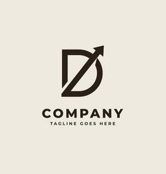 Initial d with arrow up concept logo design vector