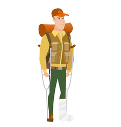 Injured traveler with broken leg vector
