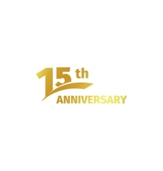 Isolated abstract golden 15th anniversary logo on vector