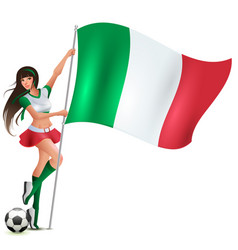 italian beauty woman soccer fan holding flag vector image