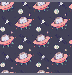 japanese kawaii cat travels in space seamless vector image