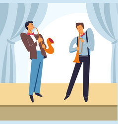jazz band men playing saxophone on stage vector image