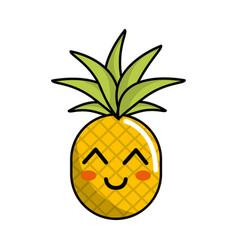 kawaii cute happy pineapple vegetable vector image
